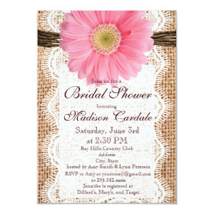 Rustic Burlap Pink Daisy Bridal Shower Invitations Announcement