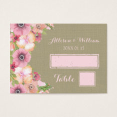 Rustic Burlap Pink Floral Place Setting Cards at Zazzle