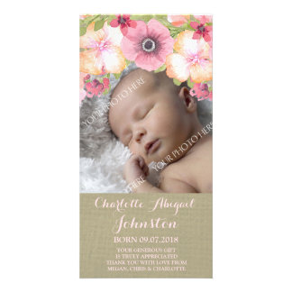 Rustic Burlap Pink Flowers Thank You Shower Card