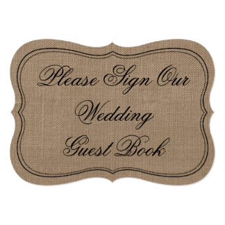 """Rustic Burlap """"Please Sign Our Wedding Guest Book"""" Card"""