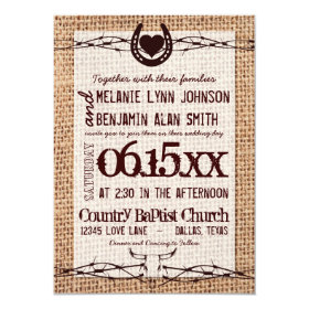 Rustic Burlap Print Barbed Wire Wedding Invitation