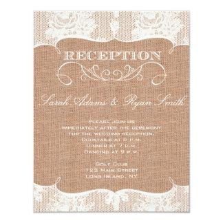 Rustic Burlap Print & Lace Reception Invitation