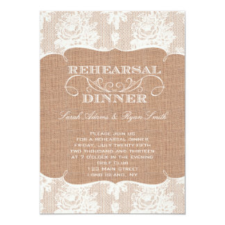 Rustic Burlap Print & Lace Rehearsal Dinner Personalized Invitation