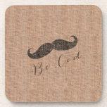 Rustic Burlap Print & Mustache Drink Coaster
