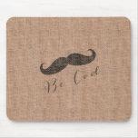 Rustic Burlap Print & Mustache Mouse Pad