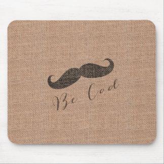 Rustic Burlap Print Mustache Mouse Pad