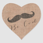 Rustic Burlap Print & Mustache Sticker