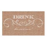 Rustic Burlap Print Wedding Drink Ticket Business Card