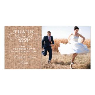 Rustic Burlap Print Wedding Photo Thank You Cards