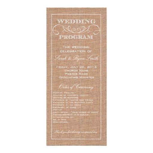 Rustic Burlap Print Wedding Program Invitation Zazzle