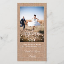 Rustic Burlap Print Wedding Thank You Photo Cards