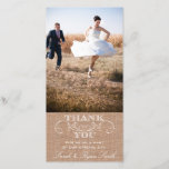 """Rustic Burlap Print Wedding Thank You Photo Cards<br><div class=""""desc"""">Rustic Burlap Print Wedding Thank You Photo Cards: Use these elegant photo cards to send out to your guests to say thanks for being a part of your wedding celebration. Completely customize with your own message,  names and picture.</div>"""