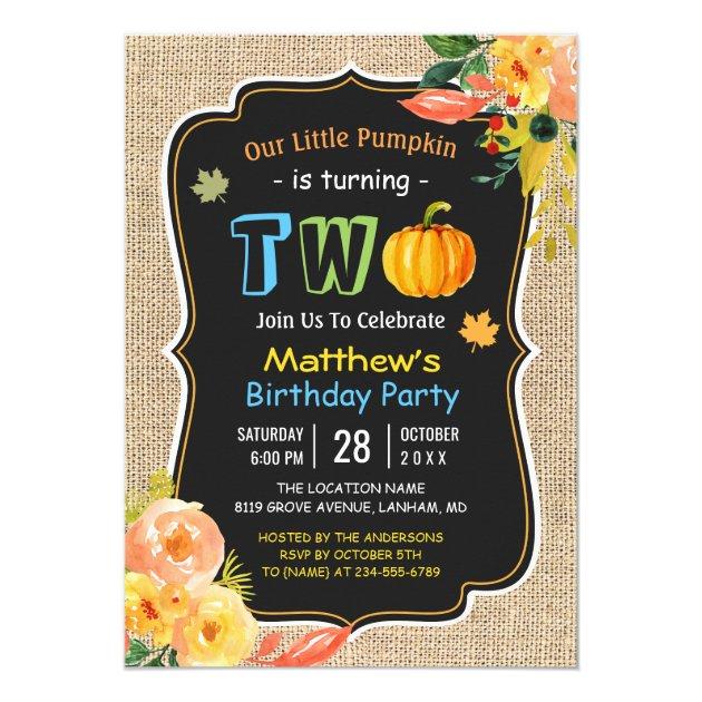 Rustic Burlap Pumpkin Fall Baby 2nd Birthday Party Card