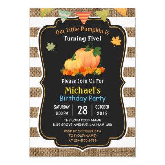 Rustic Burlap Pumpkin Fall Kid's Birthday Party Card