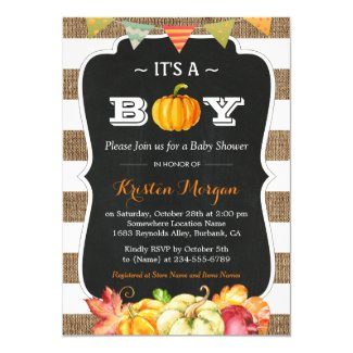 Rustic Burlap Pumpkin It's A Boy Fall Baby Shower Card