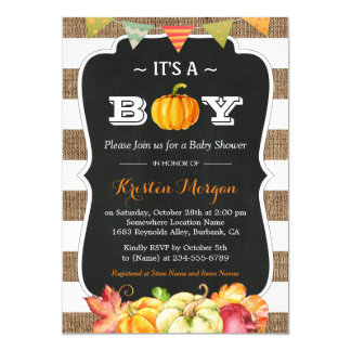 Rustic Burlap Pumpkin It's A Boy Fall Baby Shower Card