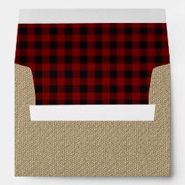 Rustic Burlap | Red Black Buffalo Checks Pattern Envelope