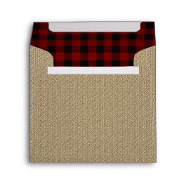 Rustic Burlap | Red Black Buffalo Checks Pattern Envelope