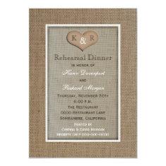 Rustic Burlap Rehearsal Dinner Invitation