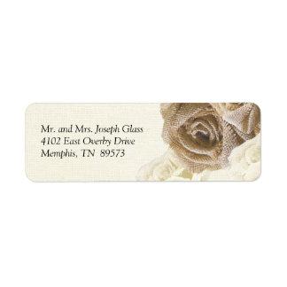 Rustic Burlap Rose Flowers Return Address Labels