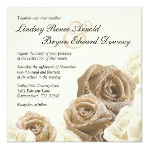 Rustic Burlap Rose Flowers Wedding Invitation 5.25