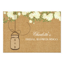 Rustic Burlap Roses bridal shower bingo cards