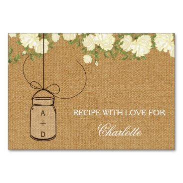 Rustic Burlap Roses bridal shower recipe cards