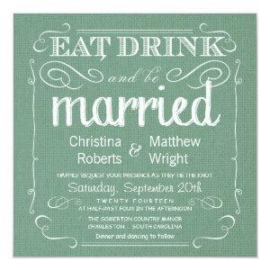 Rustic Burlap Sage Green Wedding Invitations 5.25