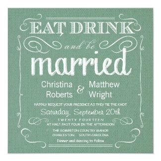 Rustic Burlap Sage Green Wedding Invitations