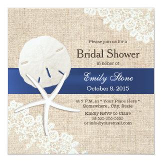 Rustic Burlap Sand Dollar & Starfish Bridal Shower Card