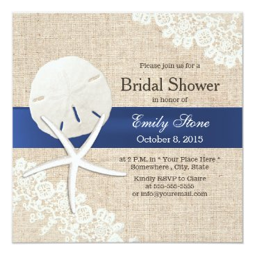 myinvitation Rustic Burlap Sand Dollar & Starfish Bridal Shower Card