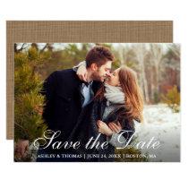 Rustic Burlap Save the Date Couple Photo Invitation