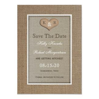 "Rustic Burlap Save the Date Invitation 4.5"" X 6.25"" Invitation Card"