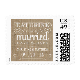 Rustic Burlap Save the Date Wedding Postage