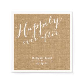 Rustic Burlap Script Happily Ever After Wedding Standard Cocktail Napkin