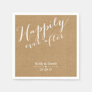 Rustic Burlap Script Happily Ever After Wedding Paper Napkin