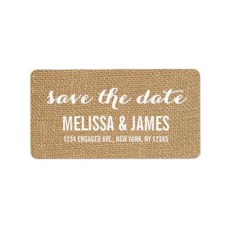Rustic Burlap Script Save the Date Personalized Address Label