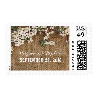 Rustic burlap shabby wedding stamps