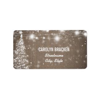 Rustic Burlap Shimmering Stars Christmas Tree Address Label