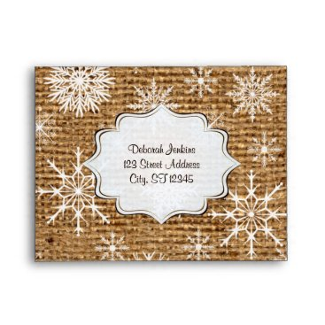 Rustic Burlap, Snowflakes A2 Envelope for RSVPs