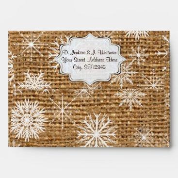 Rustic Burlap, Snowflakes A7 Envelope