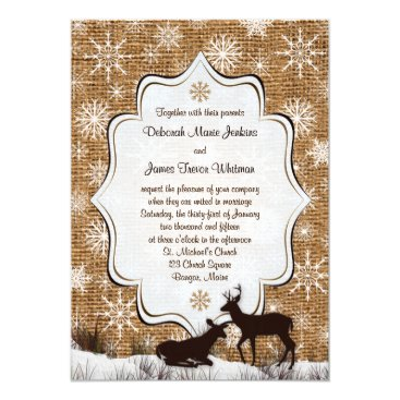 Rustic Burlap, Snowflakes and Deer Wedding Invite