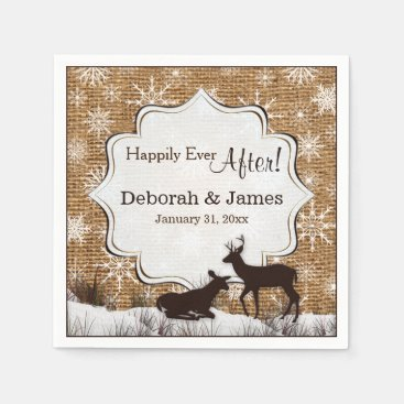 Rustic Burlap, Snowflakes and Deer Wedding Napkins