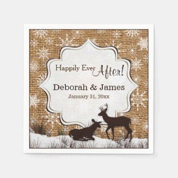 Rustic Burlap, Snowflakes and Deer Wedding Napkins