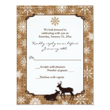 Rustic Burlap, Snowflakes and Deer Wedding RSVP Card