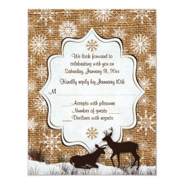 Rustic Burlap, Snowflakes and Deer Wedding RSVP Card