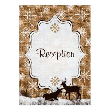 Rustic Burlap, Snowflakes & Deer Enclosure Card