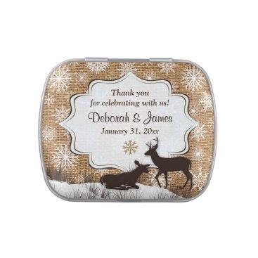 Rustic Burlap, Snowflakes, Deer Favor Candy Tin