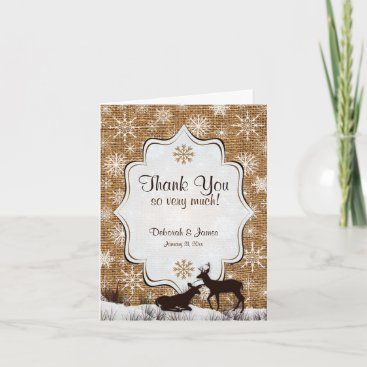 Rustic Burlap Snowflakes Deer PHOTO Thank You Card
