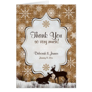 Rustic Burlap Snowflakes Deer PHOTO Thank You Card